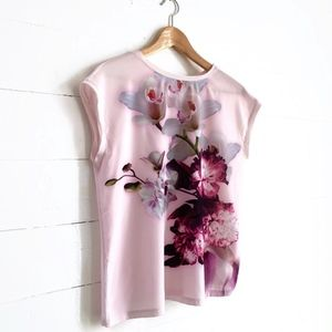 Pink Floral Blouse Sleeveless Ted Baker Small Tank